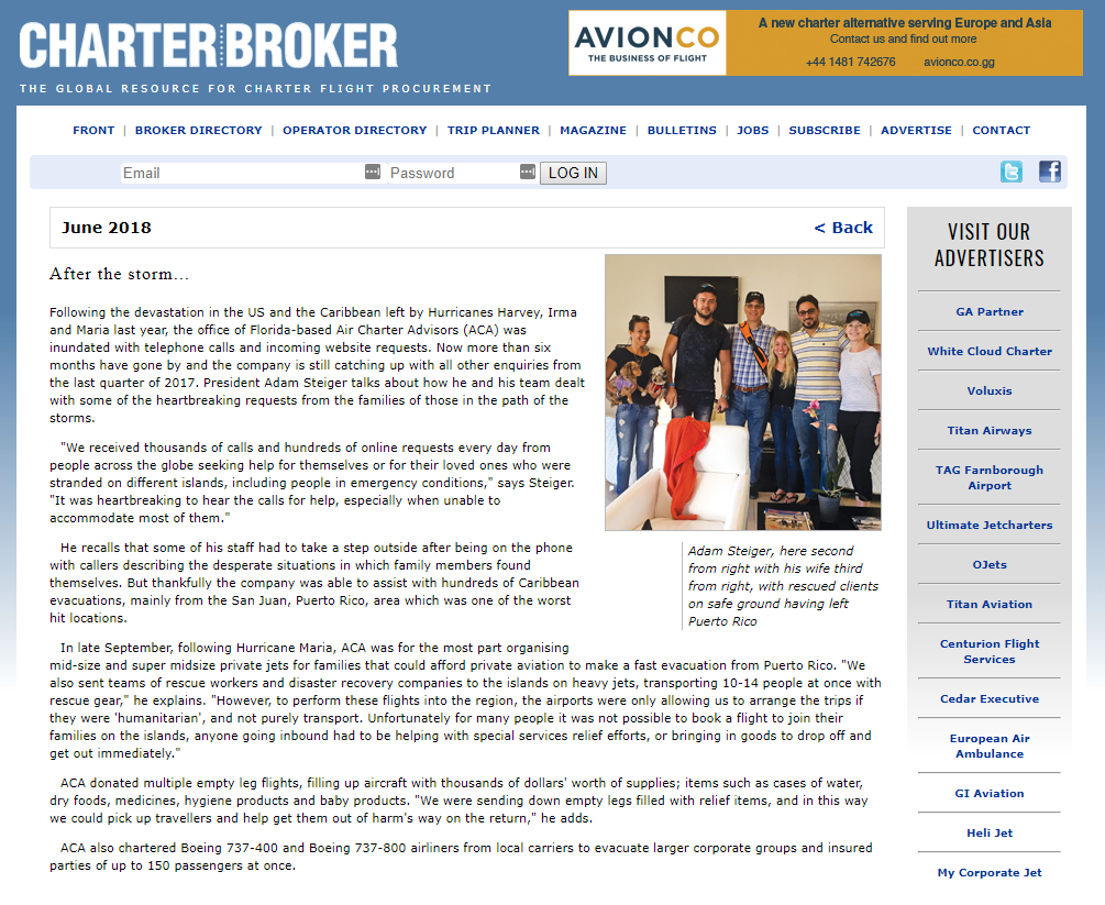 Charter Broker Magazine Article - After the Storm